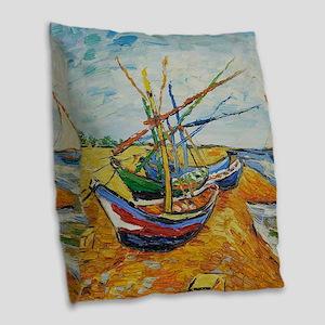 Van Gogh Boats at St Marie Burlap Throw Pillow