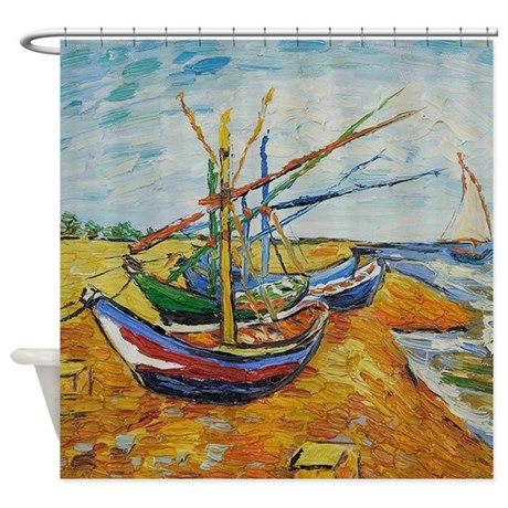 Van Gogh Boats At St Marie Shower Curtain By FineArtDesigns