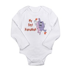 My First Hanukkah Long Sleeve Infant Bodysuit