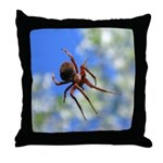 Red Thin Leg Wolf Spider on Web in blue Throw Pill