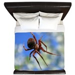 Red Thin Leg Wolf Spider on Web in blue King Duvet
