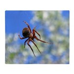Red Thin Leg Wolf Spider on Web in blue Throw Blan
