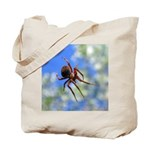 Red Thin Leg Wolf Spider on Web in blue Tote Bag