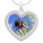 Red Thin Leg Wolf Spider on Web in blue Necklaces