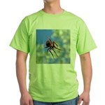 Red Thin Leg Wolf Spider on Web in blue T-Shirt