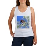 Red Thin Leg Wolf Spider on Web in blue Tank Top