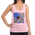 Red Thin Leg Wolf Spider on Web in blue Racerback
