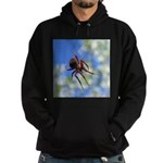 Red Thin Leg Wolf Spider on Web in blue Hoodie