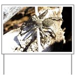 Furry Wolf Spider on Rocks Yard Sign