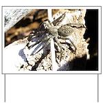 Furry Wolf Spider on Rocks Yard Sign