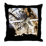 Furry Wolf Spider on Rocks Throw Pillow