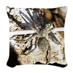 Furry Wolf Spider on Rocks Woven Throw Pillow