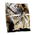 Furry Wolf Spider on Rocks Burlap Throw Pillow