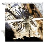 Furry Wolf Spider on Rocks Shower Curtain