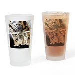 Furry Wolf Spider on Rocks Drinking Glass