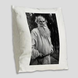 leo tolstoy Burlap Throw Pillow