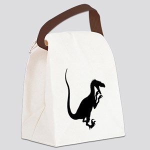 Velociraptor Silhouette Canvas Lunch Bag