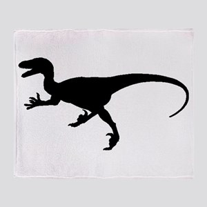 Velociraptor Silhouette Throw Blanket