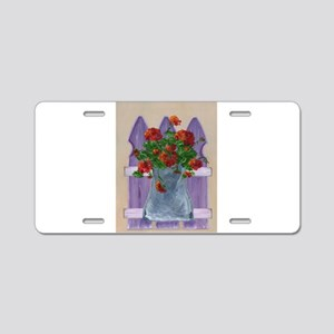 Flower Fence Aluminum License Plate