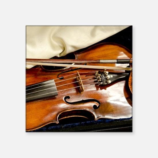 "Vintage Violin Square Sticker 3"" x 3"""