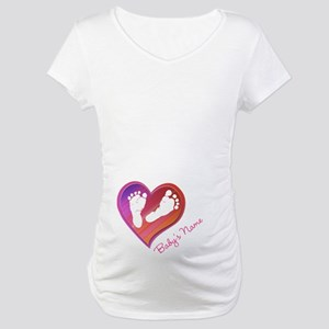 Heart & Baby Footprints Maternity T-Shirt