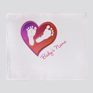 Heart & Baby Footprints Throw Blanket