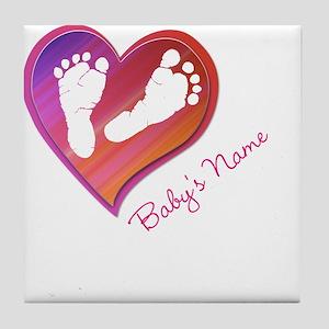 Heart & Baby Footprints Tile Coaster