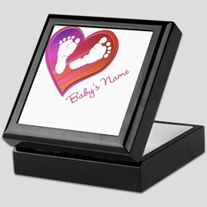 Heart & Baby Footprints Keepsake Box