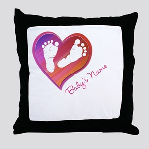 Heart & Baby Footprints Throw Pillow