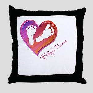 Heart & Baby Footprints Throw Pillow