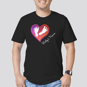 Heart & Baby Footprint Men's Fitted T-Shirt (dark)