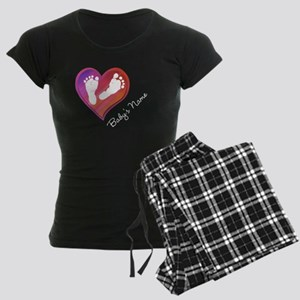 Heart & Baby Footprints Women's Dark Pajamas