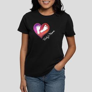 Heart & Baby Footprints Women's Dark T-Shirt