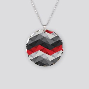 Abstract Chevron Necklace Circle Charm