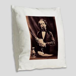 charles,dickens Burlap Throw Pillow