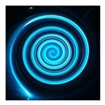 Teal and Black Twirl Square Car Magnet 3