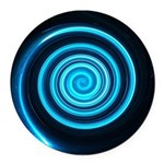 Teal and Black Twirl Round Car Magnet