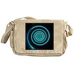 Teal and Black Twirl Messenger Bag