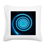 Teal and Black Twirl Square Canvas Pillow