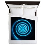 Teal and Black Twirl Queen Duvet