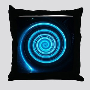 Teal and Black Twirl Throw Pillow