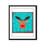 Reindeer on Aged Teal Framed Panel Print