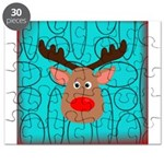 Reindeer on Aged Teal Puzzle