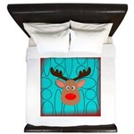 Reindeer on Aged Teal King Duvet