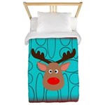 Reindeer on Aged Teal Twin Duvet