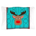 Reindeer on Aged Teal Pillow Case