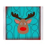 Reindeer on Aged Teal Throw Blanket
