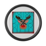 Reindeer on Aged Teal Large Wall Clock