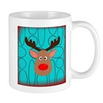 Reindeer on Aged Teal Mugs