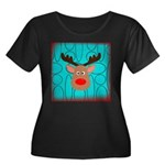 Reindeer on Aged Teal Plus Size T-Shirt